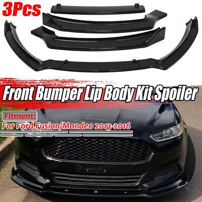 Front Bumper Lip Body Kit Spoiler Gloss Black For 2013-2016 Ford Fusion Mondeo