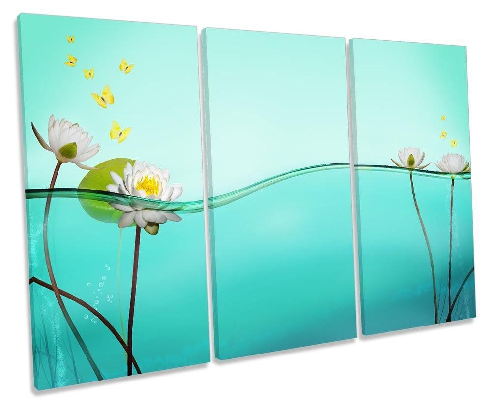 NINFEA BLU FLOREALE Immagine Tela alti Wall Art Print