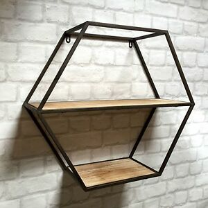 Image Is Loading Vintage Industrial Style Metal Wall Shelf Unit Storage