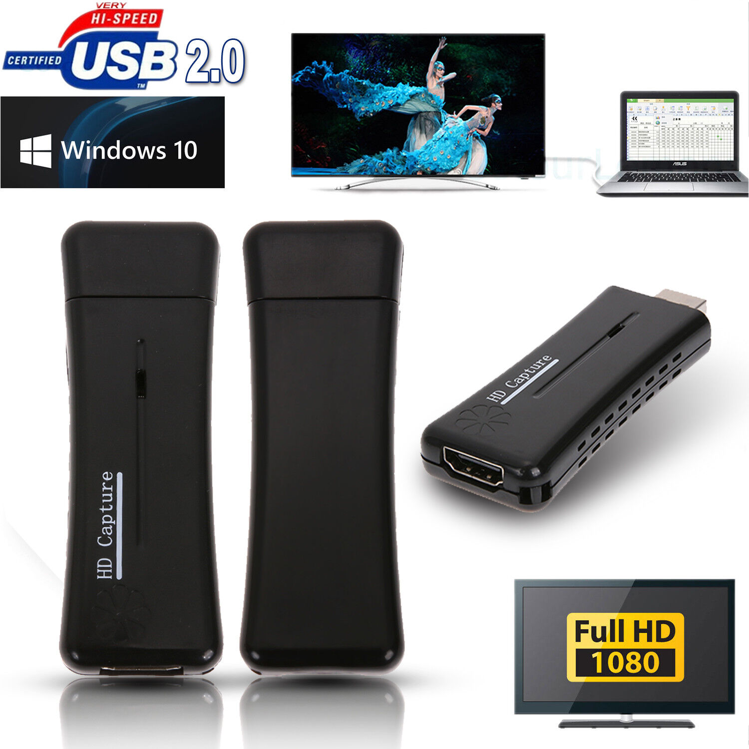 Mini Portable USB2.0 Port HD 1 Way HDMI 1080P Video Capture Card for PC Laptop