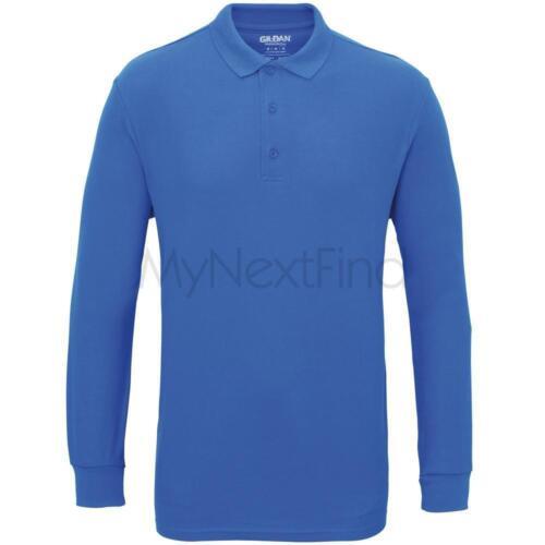 Gildan Premium Cotton Long Sleeve Double Pique Polo