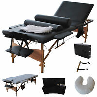3 Fold 84l Portable Massage Table Facial Bed W/2 Bolster+sheet+cradle Cover on sale