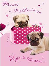Hunde Karte - Pugs & Kisses - Muttertagskarte