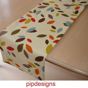 NEW-Table-Runner-5ft-Orange-Red-Green-Brown-Blue-Mustard-Grey-Leaves-Cream-60-034