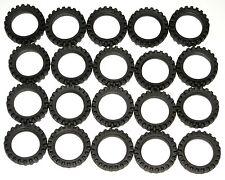 LEGO 20 Black Tires Wheels Offset Tread - Band Around Center of Tread