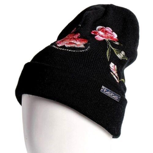 BEBE Women/'s Sequin Embroidered Floral Knit Logo Beanie Winter Hat Pom Pom Black