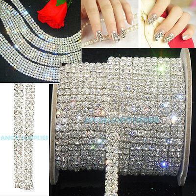 2-Row Clear Crystal Rhinestone Trims Close Chain Silver DIY Decor SS16 x 1 Yard