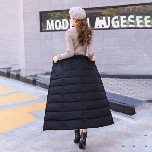 Women Thick Warmer Puffer Puffa Long A Line Skirts Padded Winter Outdoor Dress