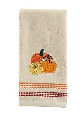 Embroidered Fall Printed Pumpkin Fingertip Towel 11x18 Cotton NWT