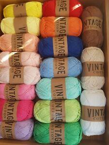 18-X-100g-DK-Vintage-Cotton-Knitting-Crochet-Wool-Yarn