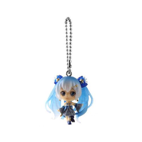 "2/"" Hatsune Miku Snow PVC Mini Figure Keychain Keyring Phone Strap Cosplay"
