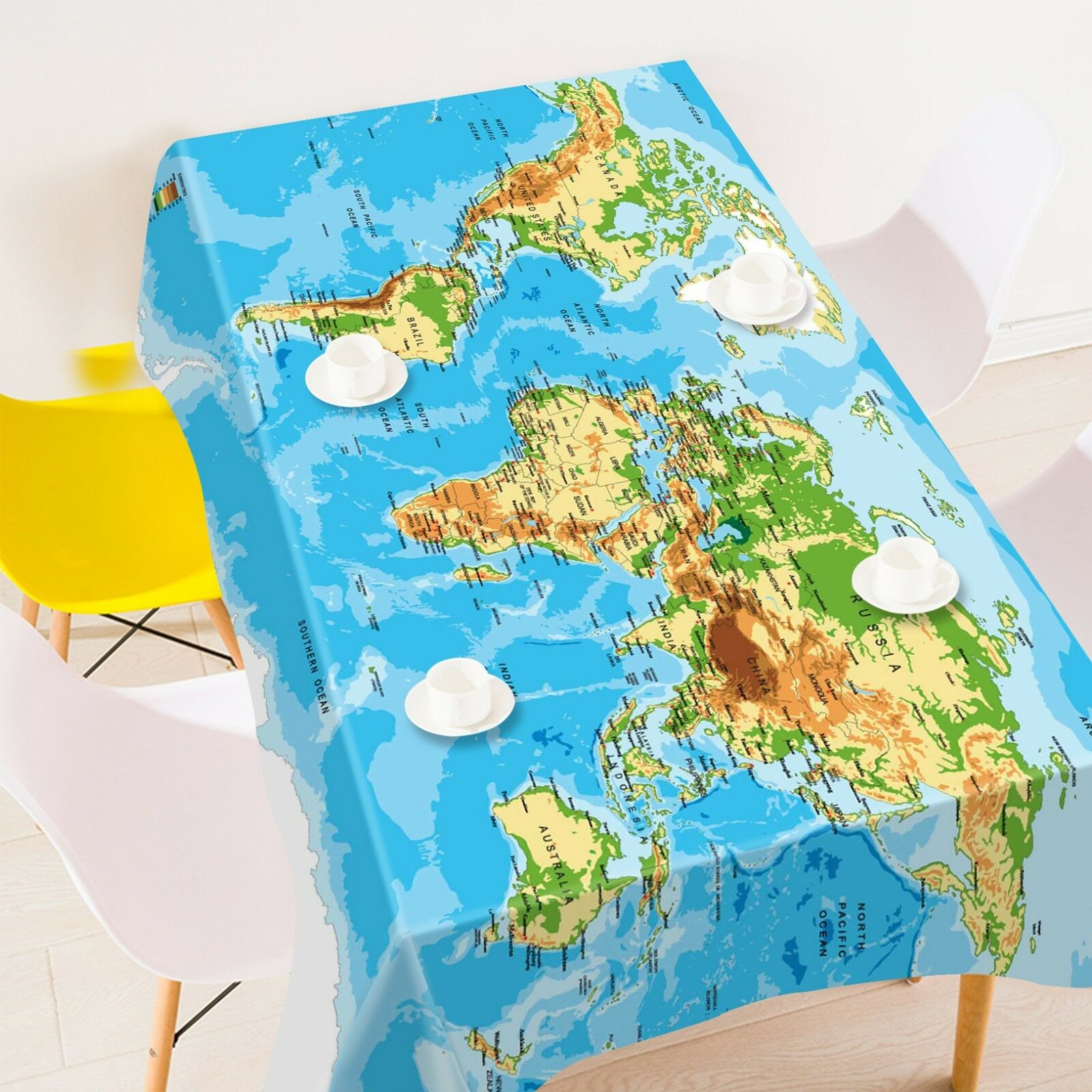 3D World Map Sea 135 Tablecloth Table Cover Cloth Birthday Party Event AJ Lemon