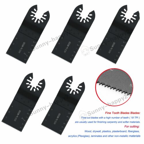 5Pc Multi Tool Blades Quick Release 35mm Precision Wood for Bosch Dewalt Stanley