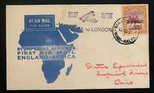 1931 Halfa British Africa First Flight Airmail Cover FFC To Cairo Egypt