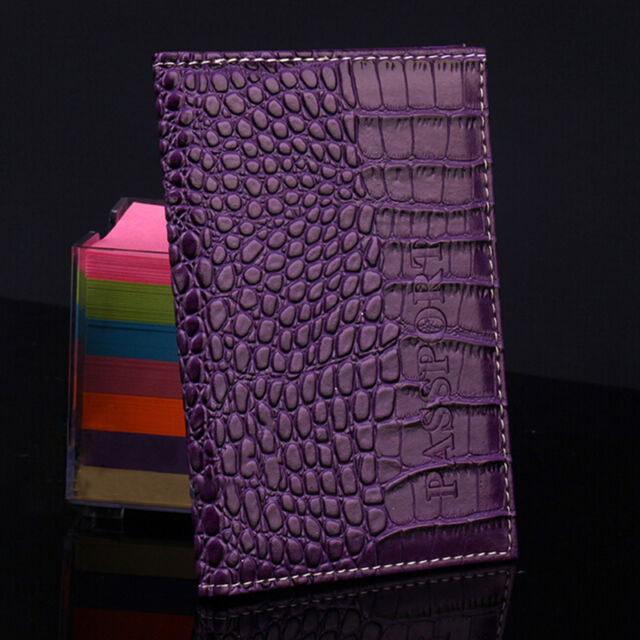 Alligator embossing Passport Holder Protector Cover PU Leather Wallet new