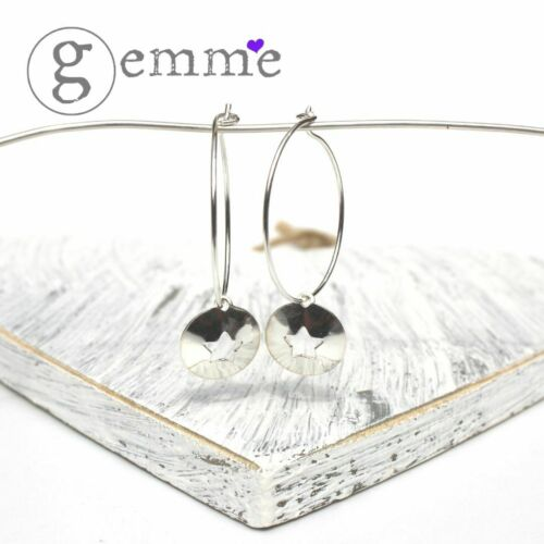 Handmade Sterling Silver Hoop Charm Earrings with Domed /& Cut out Star Discs