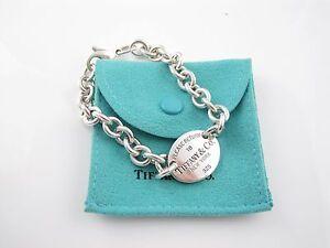 bbb571d59 Tiffany & Co Silver Return to Tiffany Oval Charm Bracelet | eBay
