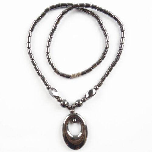 LK1755 Collar Colgante de Moda Negro Hematita Oval 17.5 pulgadas 34x24x5mm.5x3mm