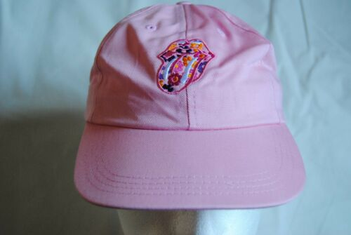 ROLLING STONES EMBROIDERED FLOWER TONGUE LOGO PINK BASEBALL CAP NEW OFFICIAL