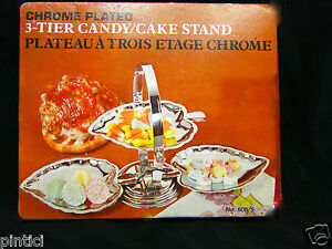 Schale-mit-3-Fach-Verchromt-cake-Stand-Etagere-Metall-27x14-Gebaeckschale-ANGEBOT