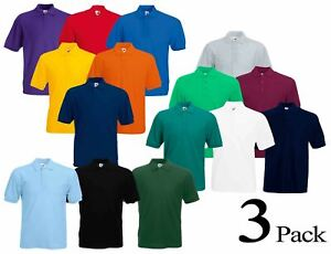 03fcea09 3 Pack Fruit of the Loom Plain Cotton Mens Polo Shirts T-Shirt Short ...