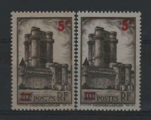 FRANCE-STAMP-TIMBRE-491-034-VINCENNES-5F-S-10F-VARIETE-COULEUR-034-NEUFS-xx-LUXE-R338