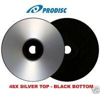 500 Pcs Prodisc Cd-r, 48x, Silver Shiny Top, Black Bottom