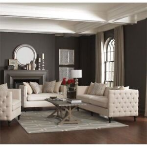 Amazing Details About Coaster Furniture Claxton Traditional Oatmeal Tuxedo Tufted Sofa And Loveseat Customarchery Wood Chair Design Ideas Customarcherynet