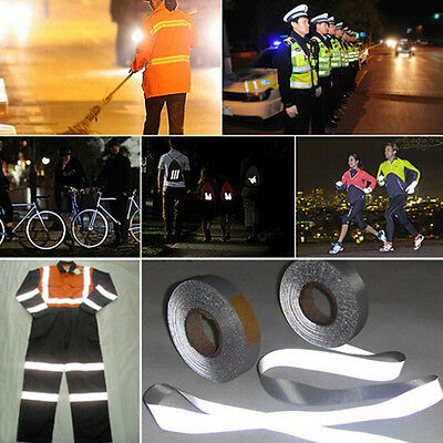 """3M*5cm Silver Reflective Tape Safty Strip Sew On Trim Gray Synth Fabric 2""""x10FT"""