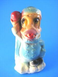 Donald Duck Chalkware Carnival Prize Figurine Winter Snowball Vintage Disney