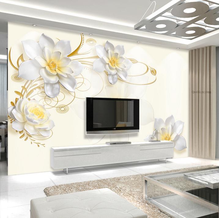 3D Weiße Blumenmuster 588 Tapete Tapeten Mauer Foto Familie Tapete Wandgemälde