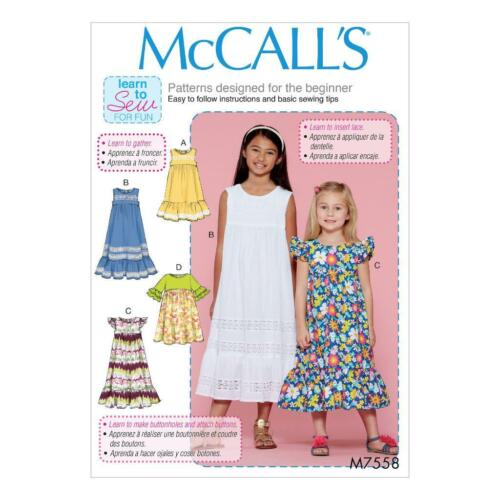 McCalls Easy Sewing Pattern M7558 Childrens/girls Dresses Learn to ...