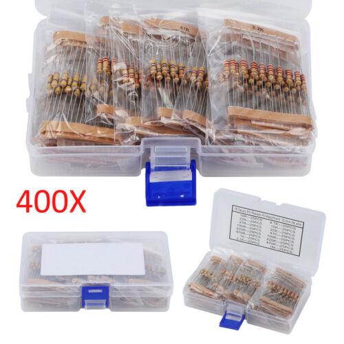 400pcs 16 Werte Metallfilm Widerstände 10-1M Ohm 1//2 Watt Widerstand Sortiment