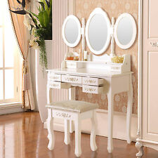 7 Drawer Folding Mirror Makeup Dressing Table White Vanity Set w/Stool Wood Desk