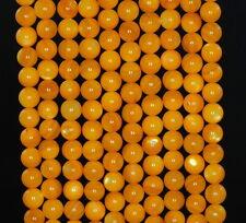 """6MM SUNFLOWER SHELL GEMSTONE AMBER YELLOW ROUND LOOSE BEADS 15"""""""