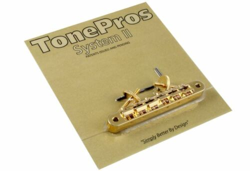 TonePros AVR2 Gold Locking Vintage Style Tunematic Guitar Bridge GB-0523-002
