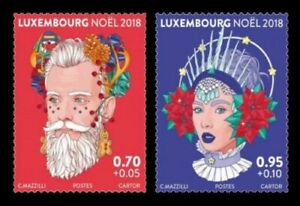 Luxembourg-2018-Christmas-Unique-Unusual-Transparent-stamp-set-2v-MNH