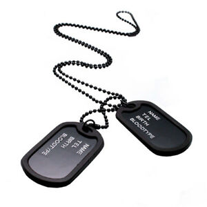 Men-039-s-Military-Army-Style-Black-2-Dog-Tag-Pendant-Sweater-Chain-Necklace-Salable