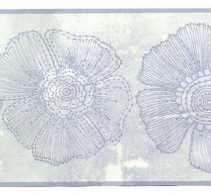 Wallpaper-Border-Light-Blue-Abstract-Modern-Large-Floral-Drawings-Flowers