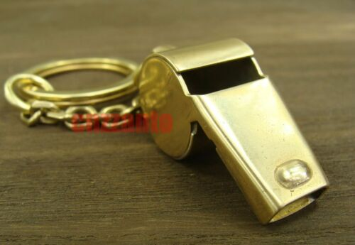 Bodiness Solid Brass EDC Vintage Outdoor Key Chain Ring pendant whistle H012