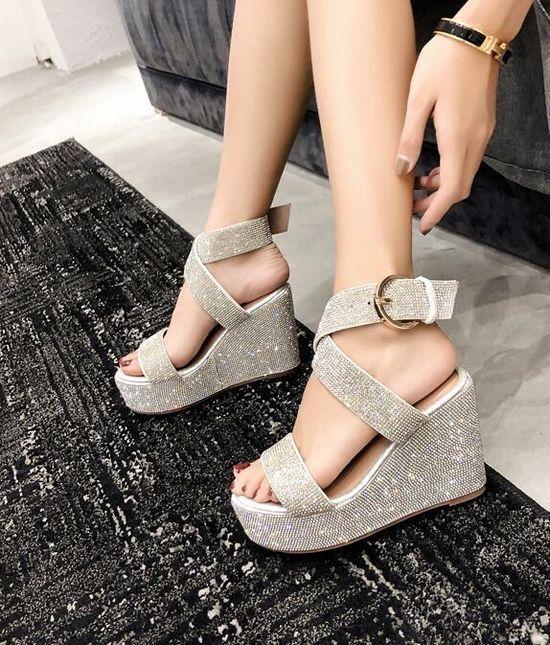 Sandalen hausschuhe frau holzschuhe glitter silber keilabsätze 10.5 cm-stute