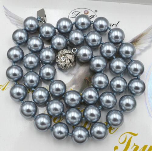 """NOUVEAU 10 mm South Sea Silver Gris Shell collier de perles 18/"""" cristal fermoir"""