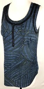 Women-039-s-Cabi-Sleeveless-Top-Shirt-Blouse-Navy-Blue-Embroidered-Size-Xs