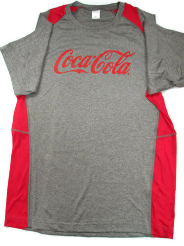 BRAND NEW Coca-Cola Heather Gray and Red Sport Fabric Tee T-shirt 2X-Large 2XL