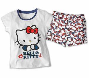 Hello-Kitty-Kinder-Shorty-Set-Pyjama-100-Baumwolle-Nachtwaesche-Schlafanzug