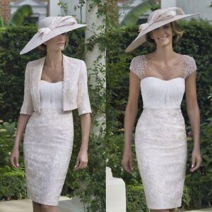 ee3f3b6041f Elegant Beige Knee Length Wedding Mother Of The Bride Dresses Suits ...