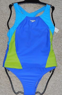 New Girls Size 12 Speedo Tankini 2 piece Swimsuit Blue Color Block New