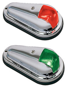 Pair of Chrome Plated Brass Red and Green Bow Navigation Lighs for Boats - 1 NM