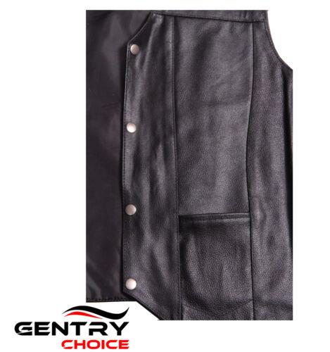 Men Premium Cow Leather Motorcycle Biker Riders Vest Side Laces Black Waistcoat