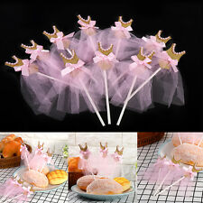 10Pcs/Pack Pink Gold Glitter Skirt Cupcake Toppers Birthday Wedding Baby Shower